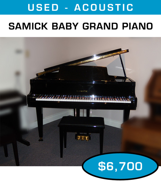 Q m music center classical organs and pianos for home for Size of baby grand piano
